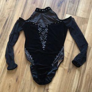 Velvet cold shoulder bodysuit dance leotard MA